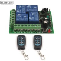 4ch 433mhz fernbedienung großhandel-Sleeplion 12 V 4CH Drahtloser Fernschalter Universal Fernbedienung Relaisschalter 12 V 4 Kanal Relaismodul Box Bord 315/433 MHz