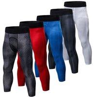 correr el sudor al por mayor-Gimnasio 3/4 Hombres Leggings 3D Pantalones de compresión de impresión Pantalones deportivos Pantalones de chándal para hombres Pantalones de jogging Pantalones de running Pantalones de fitness