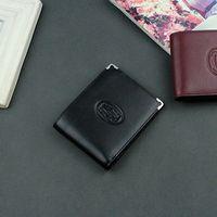 monedero de tarjeta de visita de marca al por mayor-Monedero del diseño de negocio de las carteras del cuero auténtico de la marca del hombre, la cartera compacta lujosa de los hombres para las tarjetas de crédito con la caja
