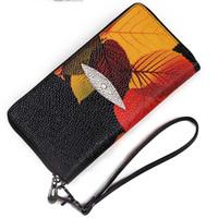 atmosphäre ledertaschen großhandel-Neue Leder Geldbörse, Europa und den Vereinigten Staaten Wind Clutch Tasche Mode lässig Reißverschluss Tasche Druck lange Brieftasche High-End-Atmosphäre
