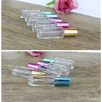 Wholesale square spray bottles - 5ml Clear Glass Perfume Spray Bottle Square Refillable Bottles for Essential Oil Make up Supplies fast shipping F289