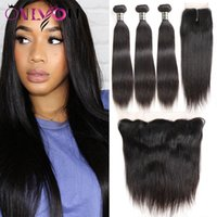 Wholesale brazilian hair top closures - Brazilian Straight Virgin Human Hair Bundles with Closure Top Remy Extensions 3 Bundles with 4x4 Lace Closure and 13x4 Lace Frontal Bundles