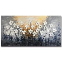 büyük sanat eserleri boyuyor toptan satış-El Boyalı Doku Büyük Yağlıboya Tuval Çiçek Duvar Sanatı Oturma Odası Dekor için Çağdaş Yapıt