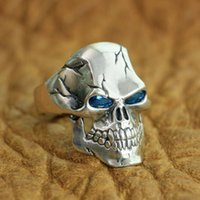 herren radfahrer ringe größe großhandel-LINSION 925 Sterling Silber CZ Augen Schädel Ring Mens Biker Rock Punk Ring TA131 US Größe 7 ~ 15