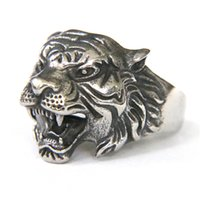 Wholesale Tiger Ring Band - 1pc Support Drop Ship Animal Tiger King Ring 316L Stainless Steel Jewelry Band Party Cool Men Boys Tiger Head Ring