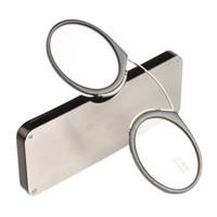 Wholesale titanium clips - DIDI Titanium Mini Reading Glasses Clip Nose Round Optical Glasses With Box Wallet Fashion Prescription Eyewear Degree 1.0 To 3.0 U606