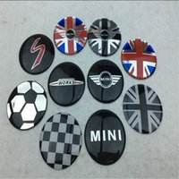 Wholesale Mini Door Stickers - 4 pcs 52mm colorful England Flag for MINI WORKS S Car Wheel Center Hub Cap Badge wheel Dust-proof covers logo 3D Stickers Decal