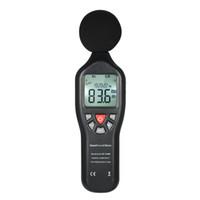 medidor de sonido de decibeles al por mayor-Medidor de decibelios 30-130dBA LCD Medidor de nivel de sonido digital Instrumento de medición de ruido Decibel Monitoreo de datos Registrador de datos Func