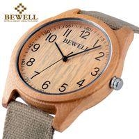 6432a5b66a4915 BEWELL Famous Brand Wood Watch Analog Digital Bamboo Clock Men Women Watch Male  Watches Luxury Relogio Masculino Feminino 124B Y1892107
