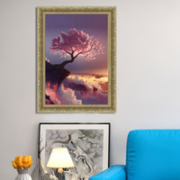 Wholesale abstract panel tree online - Frameless DIY D Diamond Painting Cherry Tree Scenery Pattern Murals Rectangle Artistic Mosaic Cross Stitch Hot Sale cq B