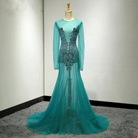 Wholesale Custom Womens Dress Shirts - 2018 See through Womens Prom Dress Beaded Turquoise Teal Special Design Custom Made Party Maxi Gowns Sexy Dresses Floor Length