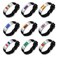Wholesale Silicone Friendship Bracelet - 2018 Russia World Cup Bracelets Friendship World Cup Fans Around Memorial Wristbands National Mark Silicone Wrist Strap