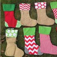 Wholesale toys plains for sale - 43 cm Christmas Stocking Gift Bags Plain Burlap Decorative Socks Bag Christmas Tree Decorating Stocking Socks Bag KKA5869