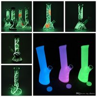 Wholesale stockings silicone - In-stock Glow In The Dark Glass Bong Vs Silicone Dab Rig Fluorescent Straight Tube Beaker Bongs Beautiful UV Water Pipes Oil Rigs