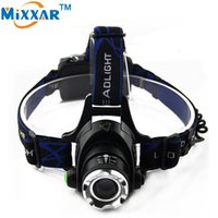 Wholesale Headlamp LM Cree XML T6 Waterproof Headlight Zoomable Focus Rechargeable Camping Head Lamp Lights