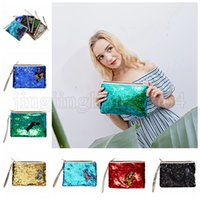 Wholesale day party makeup online - Mermaid Sequins Clutch Bag Mermaid Makeup Bag Colors Handbag Bling Glitter Evening Party Bag Shiny Cosmetic Bags Outdoor Bags OOA5218