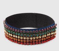 Wholesale colorful hair bands - Designer Full colorful Rhinestone Elastic Headband 2018 New Luxury Brand Striped Hair bands For Women Girl Retro Headwraps Gifts