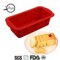 molde de cupcake de natal de silicone venda por atacado-Venda Por Atacado retângulo molde de silicone para assar bolo torradas pão formas de cozimento padaria moldes de silicone