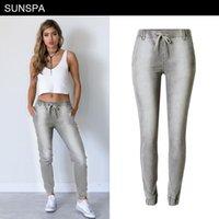jeans gris femmes élastiques achat en gros de-SUNSPA 2018 New Jeans Femmes Stretch Jogging Casual Gris Grande Taille Pantalon Pour Femmes Denim Harlan Pantalon Casual Élastique Pantalon