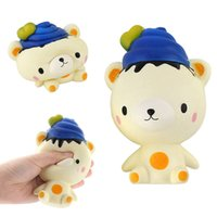 Wholesale poo soft toy - Poo Bear Squishy Blue Cartoon Slow Rising Jumbo Super Soft Squeeze Decompression Toys Phone Charms Gift BBA244