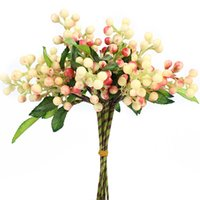 ingrosso piante di bacche-Berry Wedding Decoration 7pcs / Lot Artificiale Berry Simulazione Fiori Bouquet Frutta Decorazione domestica Piante artificiali finte