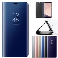 телефонные кошельки оптовых-Зеркало вид из окна кожаный бумажник Case флип стенд гальваническим крышка телефона для Samsung S9 Примечание 9 S8 A7 J4 J6 2018 iPhone X