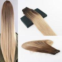 ombre bakire saç toptan satış-İnsan Saç Demetleri Ombre # 4 Solma # 18 Golleri Brezilyalı Bakire Saç Paket Başına 100G Düz Insan Saç Atkı Uzantıları