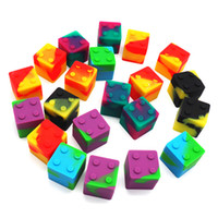 mini pots ronds achat en gros de-3pcs / lot 9ml mini Cube en forme de silicone assorti de couleur conteneur pour Dabs forme ronde Silicone Contenants de cire Silicone Jars Dab conteneurs