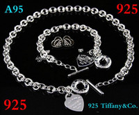 Wholesale bracelets silver glitter resale online - Designer Jewelry Heart lock New Jewelry Sets tiff925 Sterling Silver Bracelet and Necklace Sets Fashion womens Jewelry Sets with box glitter