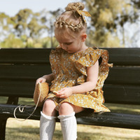 neues modell baby kleid großhandel-Mädchen Kleider Prinzessin Kleid Baby Kleidung INS Baumwolle Floral Flying Sleeve Röcke Infant Kleinkind Neue Kinder Kleidung Kinder Y82