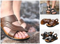 Wholesale real leather ballet flats - 2018 Summer New Style Sandals Men's Real Leather Beach Shoes Dual Purpose Cool Comfortable Casual Fashion Slippers