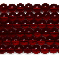 "8mm Natural Stone Smooth Garnet Glass Loose Beads 15"" Strand 6 8 10 MM Pick Size For Jewelry Making"