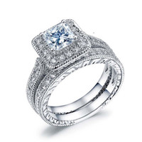 Wholesale square cut engagement rings resale online - Fashion Prong Setting Square Cut White Sapphire Cubic Zirconia Crystal White Gold Plated Couple Ring Sets For Women Men s Engagement Gift