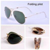 подходят солнцезащитные очки оптовых-3479 Pilot Folding Real Glass линзы Солнцезащитные очки авиация женщины мужчины горячие лучи солнцезащитные очки мужской женский G15 объектив UV400 с складными пакетами подходят