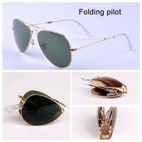 paquetes masculinos al por mayor-3479 Piloto plegable cristal real gafas de sol aviación mujeres hombres rayos calientes gafas de sol macho hembra lente G15 UV400 con paquetes de ajuste plegables