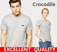 Wholesale High Fashion T Shirts Mens - Casual t shirt brand men Crocodile Embroidery tops funny Short sleeve t-shirt men 100% Cotton tee shirt mens t shirts fashion High Quality