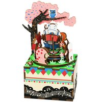 Wholesale concert toys online - DIY Doll house Robud Forest Concert Wooden Puzzle With Music Box D Craft Dollhouse Toys Gift For Friends Children AM404 E