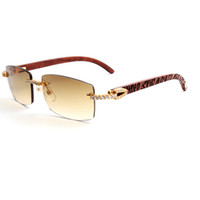 Wholesale wood legs square - Fashion Mens Diamond Sunglasses Wood Carved motifs Legs Rimless Square Gradient Lens Brand Designer Sunglasses for Men with Box CT3524012