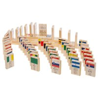 Wholesale building blocks dominoes resale online - Building Kits Block Wooden National Flag Children Puzzle Domino Game Learning Flags World Countries Educational Toys Gifts
