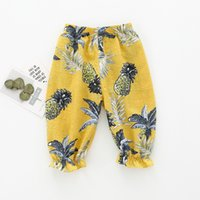 Wholesale Bow Left - Girls Leaves Pattern Lantern Pants 3 4 Length Summer 2018 Kids Boutique Clothing 1-4T Little Girls Cotton Outdoor Trousers