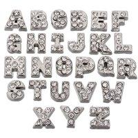 lettres de médaillon en cristal achat en gros de-26/52 (Pcs / Lot) Cristaux flottants tchèques Alphabet A-Z Lettres Lot pour médaillons en verre Living Silver Color Findings Components