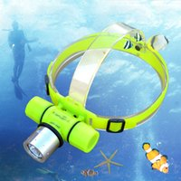 Wholesale underwater headlamp resale online - Underwater Waterproof Headlamp XML T6 LED Diving Headlight m Dive Flashlight Swimming Fishing Head Light Lamp Torch With Package