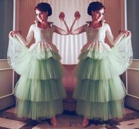 assoalho vestido do baile de finalistas hortelã venda por atacado-Vestidos de noite de menta árabe do vintage 2019 lace manga longa em camadas de tule vestidos de baile vestido longo até o chão vestidos de festa formal