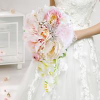 flores de coral artificiales para boda al por mayor-Coral rosa rosa peonía novia gota de agua ramo, flor artificial de la mariposa de la boda ramo nupcial, boda decoración de la flor