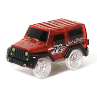 Wholesale electronics for cars online - Glow in the Dark Magic Car LED Light Up Electronics Car Toys Jeep Model Electric Race Cars DIY Toy Car For Kid