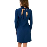 vestido de lazo recto al por mayor-Bow Tie Backless Mini Vestido Mujeres Sexy Primavera Vestidos Dulces Manga Larga Otoño 2018 Casual Straight Robe Plus Size GV610