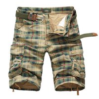 Wholesale beach cargo pants - Summer Knee Length Mens Casual Plaid Shorts Tooling Straight Male Shorts Cargo Short Multi-pocket Casual Beach Pants