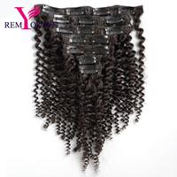 renk remi saç uzatma kıvırcık toptan satış-Rüya Remy Kraliçe 8A Kinky Kıvırcık Örgü İnsan Saç Uzantıları Remy Saç Klip Doğal Renk Tam Başkanı 8 Adet / takım