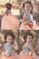 çocuklar payet tops toptan satış-Güzel Payetli Üst ve Tül Etek Balo Çiçek Kız Elbise 2018 Jewel Boyun Tutu Çocuklar Yürüyor Bebek Doğum Günü Pageant elbise