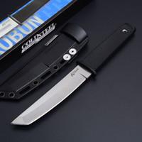 faca de ponto venda por atacado-Chegada nova Cold Steel 17 T KOBUN Sobrevivência Stright faca Tanto Ponto de Cetim Lâmina Utility Lâmina Fixa Faca de Caça Ferramentas Frete grátis